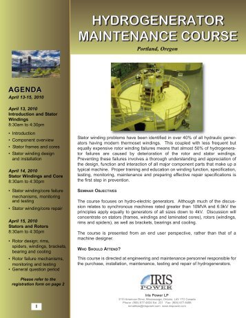 Hydrogenerator Course 2010.qxd - Iris Power Engineering