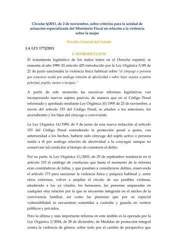 Circular 6/2011, de 2 de noviembre, sobre criterios para la unidad ...