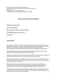 Intégralité du rapport sur l'évolution du métier de médecin - Conseil ...