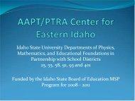 AAPT/PTRA Center for Eastern Idaho - Idaho State University