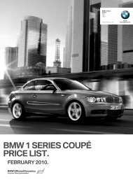 bmw 1 series coupé price list. february 2010. - BMW South Africa