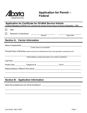 Application for Permit – Federal