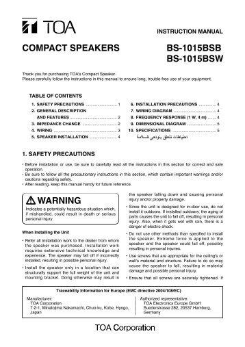 COMPACT SPEAKERS BS-1015BSB BS-1015BSW WARNING - Eltek