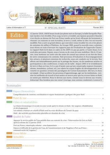 Humanitaires en mouvement n°7 - Groupe URD