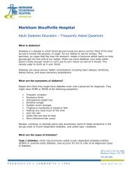 to view the frequently asked questions. - Markham Stouffville Hospital