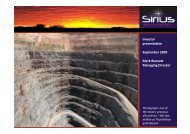 Investor presentation September 2009 Mark ... - Sirius Resources