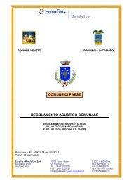 REGOLAMENTO ACUSTICO COMUNALE COMUNE DI PAESE