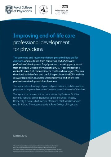 End-of-life care: leaflet for clinicians - Royal College of Physicians