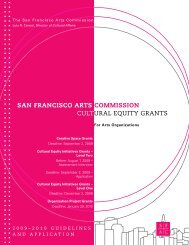 CULTURAL EQUITY GRANTS SAN FRANCISCO ARTS COMMISSION