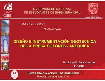 Diseño e Instrumentación Geotécnica de la Presa Pillones Arequipa