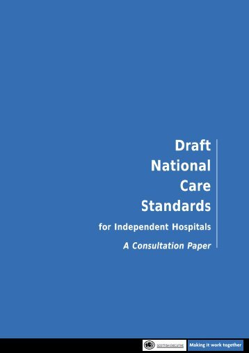 Draft national care standards for independent hospitals