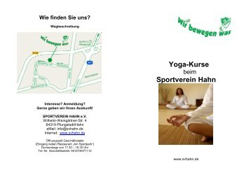 Yoga-Kurse Sportverein Hahn - Sportverein Hahn eV