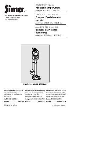 Pedestal Sump Pumps Pompes d'assèchement sur pied Bombas de ...
