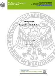 Profilgruppe Kooperatives Wirtschaften - Universität zu Köln