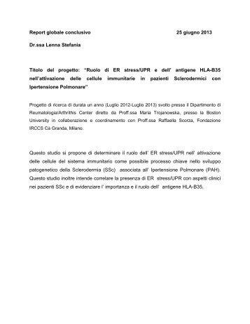 Relazione Finale Dott.ssa Lenna