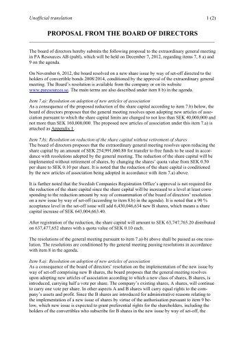 Proposal to zilack board of directors