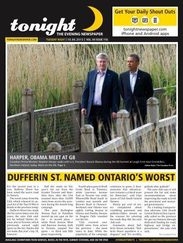 DUFFERIN ST. NAMED ONTARIO'S WORST - tonight Newspaper