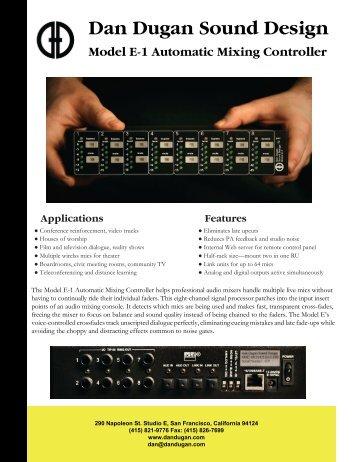 Model E-1 flyer.pdf - Dan Dugan Sound Design