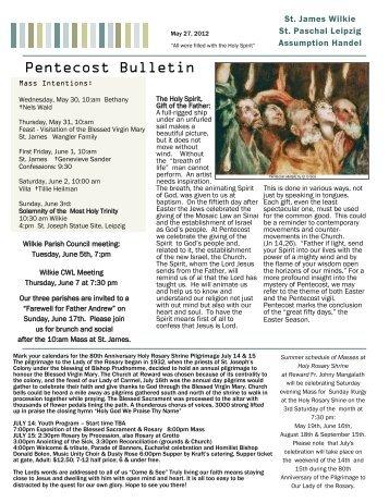 Pentecost Bulletin - Wilkie RC Saint James Parish in Wilkie