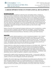 career opportunities in international development - School of ...