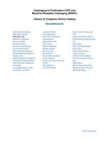Library of Congress Online Catalog - Sylvan Dell Publishing
