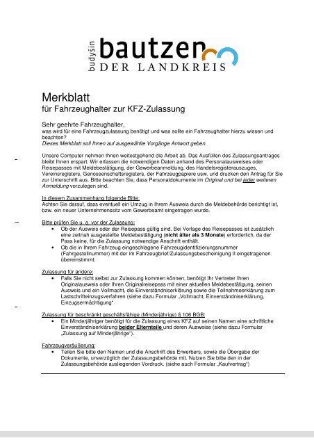 Merkblatt Kfz Zulassung Landkreis Bautzen