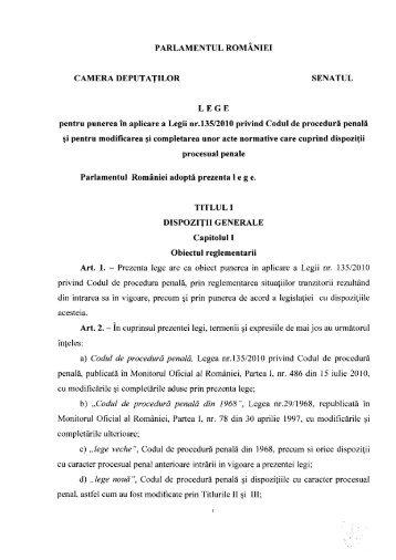 proiect de lege de punere în aplicare a Codului de Procedură Penală