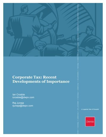 Corporate Tax: Recent Developments Of Importance - Davies Ward ...