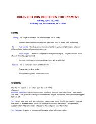 RULES FOR RON REED OPEN TOURNAMENT - Kamikaze Karate