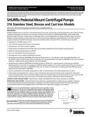 SHURflo Pedestal-Mount Centrifugal Pumps 316 Stainless Steel ...