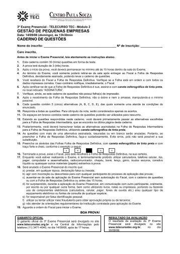 GESTÃO DE PEQUENAS EMPRESAS - Telecurso TEC