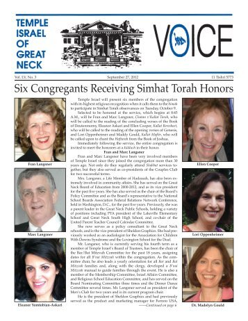 September 27 - Temple Israel of Great Neck
