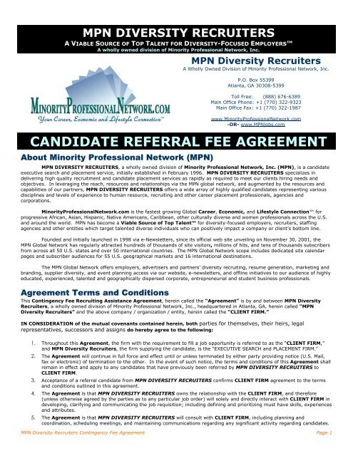 candidate referral fee agreement - Minority Professional Network