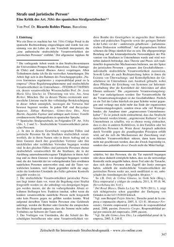 Strafe und juristische Person* - ZIS