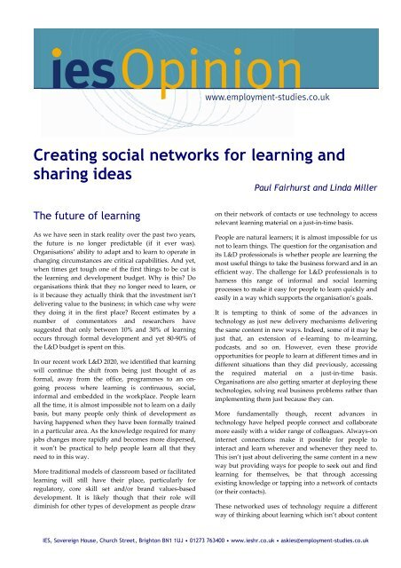 Creating social networks for learning and sharing ideas