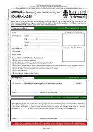 Antrag Förderungen für Solaranlagen beim Land Steiermark