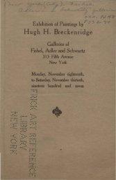 Exhibition of paintings by Hugh H. Breckenridge. - New York Art ...