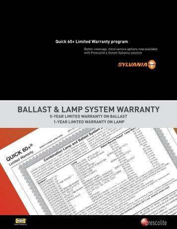 baLLast & LaMP systeM Warranty - Prescolite
