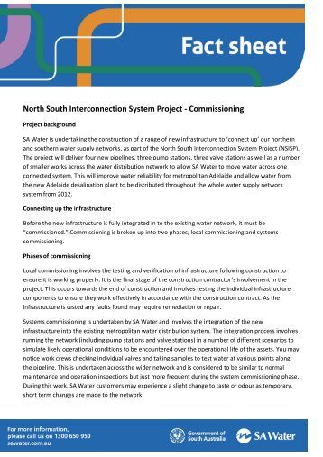 Fact sheet on water and sewer p3s cupe bc commissioning fact sheet sa water publicscrutiny Image collections