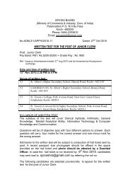 written test for the post of junior clerk - Spices Board India