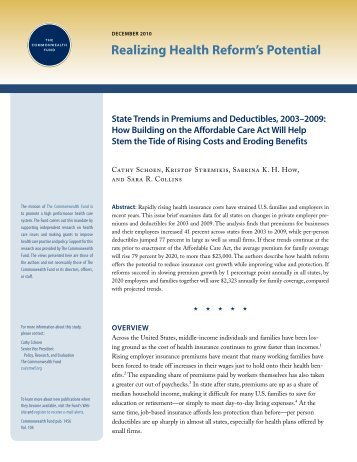 State Trends in Premiums and Deductibles, 2003–2009 - The ...
