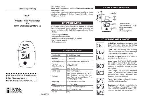 Bedienungsanleitung für Mini-Photometer Checker® HI 764 f. Nitrit ...