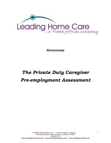 The Private Duty Caregiver Pre-employment Assessment