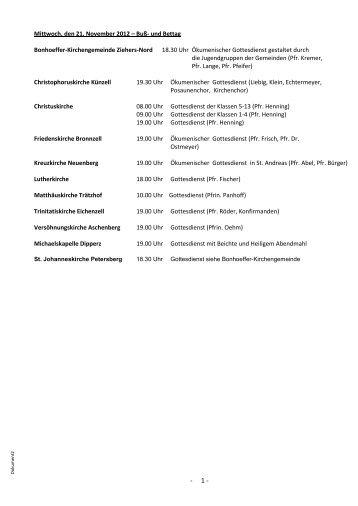 Mittwoch, den 21. November 2012 – Buß - Kirchenkreisamt Fulda