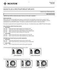 SALINE-FILLED & SPECTRUM® BREAST IMPLANTS - Mentor