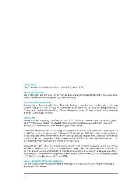 Delårsrapport 1. kvartal 2012 - Eqology.com