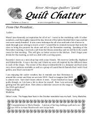 November 2009 Quilt Chatter - River Heritage Quilters Guild