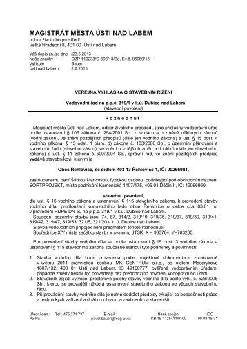 Vodovodní řad na pp č. 319/1 v k.ú. Dubice nad Labem - Statutární ...