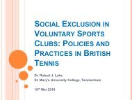 Social Exclusion in Voluntary Sports Clubs - Sport and Recreation ...