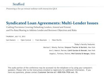 syndicated loan agreement The main reason for a borrower to seek entering a syndicated loan agreement is flexible and efficient funding compared to the option of entering various separate loan agreements with different bank, the borrower can have acces to multiple facilities that may very well serve all its funding needs, and this involving less documentation, time.